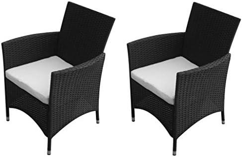 Vidaxl 2x set sedie da giardino in poli rattan nero seggiole