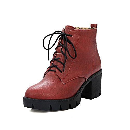 AdeeSu Ladies Solid Bandage Round Toe Imitated Leather Boots Red UIkTde