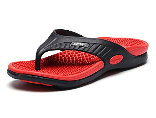 NiNE CiF Men's Beach Pool Flip Flops Summer Rubber Thong Sandals Red