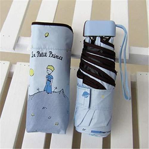 SHHOMELL Cartoon Umbrella Rain Women Folding Umbrellas Female Sunny Parasol Lovely Mini Pocket Umbrella Light Blue Prince