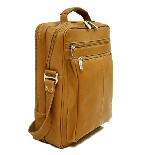 Piel Leather Laptop Shoulder Bag, Saddle, One Size by Piel Leather