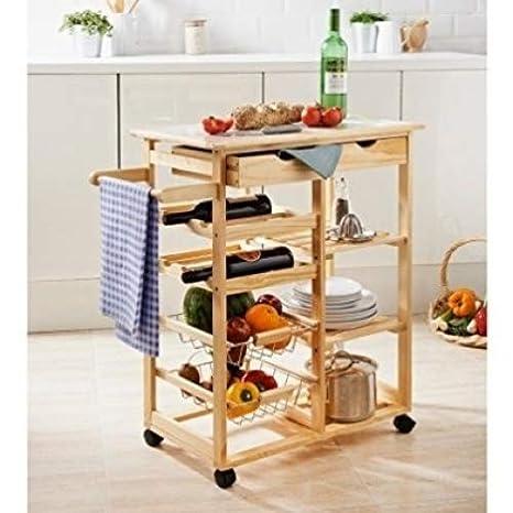 Cuisina Carrito de Cocina con cajón estantes de Vino de Frutas Verduras Cesta Carro: Amazon.es: Hogar