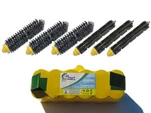 iRobot Roomba 653 Pet Series Battery, Bristle Brush, Flexible Beater Brush - Kit Includes 1 Battery, 3 Bristle Brush, 3 Flexible Beater Brush