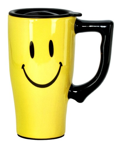 Spoontiques Smiley Face Travel Mug, Yellow ()