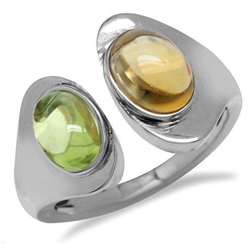 Green Peridot & Citrine White Gold Plated 925 Sterling Silver Open Front Ring Size 7