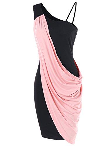 Été Une Superposition De Bloc De Couleur Épaule Moulante Robe Légère De Rose Des Femmes Charmma