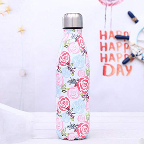 Wave Water Bottle  Vacuum Insulated Stainless Steel Vacuum Insulated Water Bottle  Double Walled Cola Shape Thermos to Keeps Drinks Cold for 24 Hours & Hot for 12 Hours 500ml (Pink, 500ML)