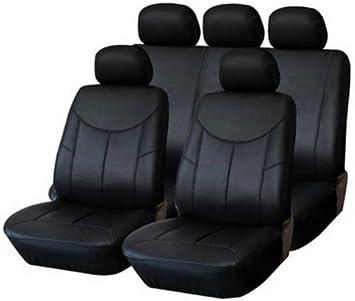 Auto-Sitzbezug Set Kunst-Leder Schwarz Pkw Sitzbezüge Universal Kfz Schonbezüge