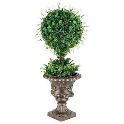 National Tree 36 Inch Mini Tea Leaf Ball Topiary Plant in Decorative Urn (LTLM4-700-36)