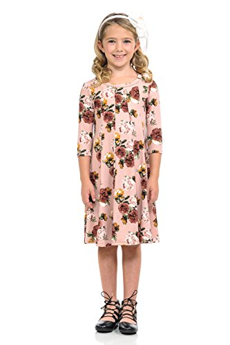 12 Pastel Roses (Pastel by Vivienne Honey Vanilla Girls' A-Line Trapeze Dress X-Large 11-12 Years Floral Blush Rose)