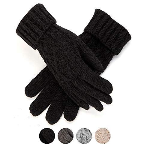 Womens Winter Knitted Gloves Thick Wool Warm Cold Weather Cable Knit Gloves