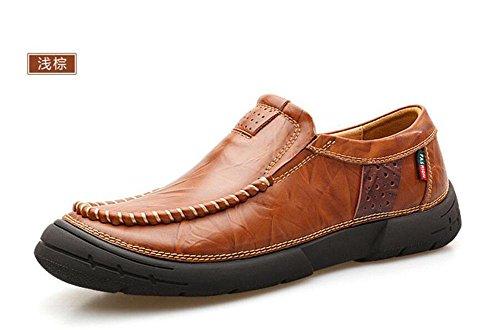 Männer Slip-On Oxford Schuhe Britische Retro Männer Erste Schicht von Leder Füße Männer Schuhe Junge Nähen Schuhe , light brown , 42
