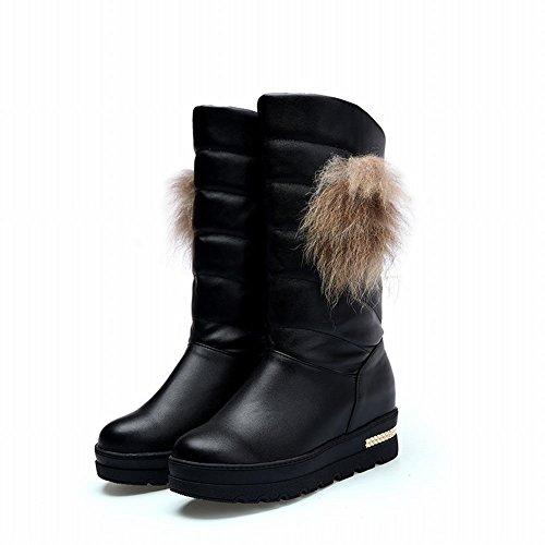 Carolbar Vrouwen Namaakbont Decoraties Comfort Verborgen Hak Snowboots Zwart