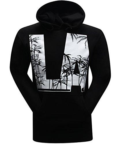 LA Palm Trees Men's Hoodie Hooded Sweatshirt - (Small) - Black