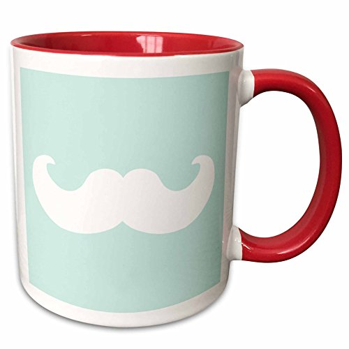 (3dRose InspirationzStore Mustache Collection - White mustache on mint blue - Ironic hipster humor moustache - funny pastel turquoise teal aqua - 15oz Two-Tone Red Mug)