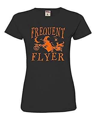 Womens Frequent Flyer Funny Witch Halloween Deluxe Soft T-Shirt