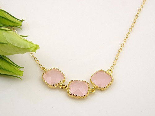 Gold Pink Necklace, Dainty Necklace, Bridesmaid Necklace, Blush Wedding, Blush (Pink Gold Jewelry)