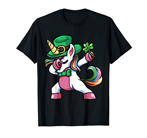 St Patricks Day Dabbing Unicorn Lepricorn Shirt Irish ()