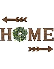 Wood Home Sign Decor Hanging Letters with Artificial Eucalyptus Wreath Rustic Farmhouse Decoration, Decorative Wooden Letters Wall Art for Kitchen Living Room House