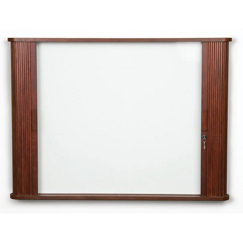 Best Rite Tambour Door - Tambour Door Cabinet Enclosed Magnetic 3' H x 4' W Whiteboard Frame Finish: Mahogany