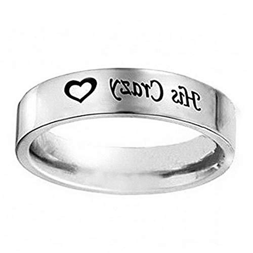 Endicot His Crazy Her Weirdo 925 Silver Promise Couples Ring Band Wedding Party Jewelry   Model RNG - 5325   8 ()