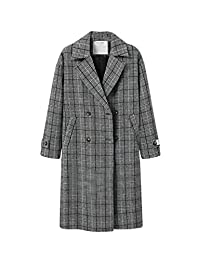 Zilcremo Womens Winter Double Breasted Plaid Long Wollen Coat Jackets