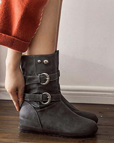 Boucles Rond Mollet Femme Bottines Mode Aisun Gris Bout 6wTvx8nq