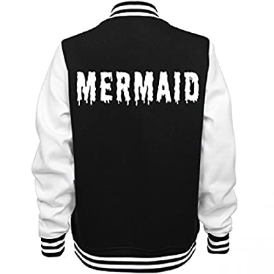 Mermaid Varsity Girl: Ladies Fleece Letterman Varsity Jacket