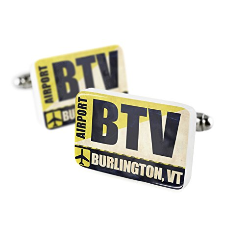 Cufflinks Airportcode BTV Burlington, VT Porcelain Ceramic NEONBLOND