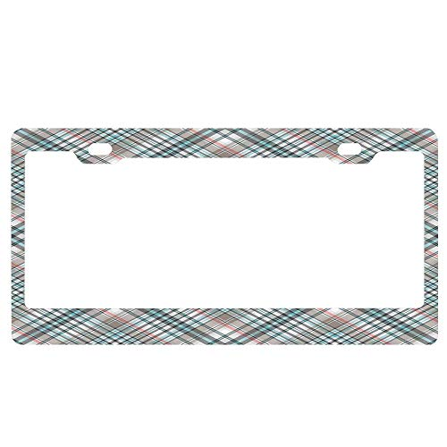 Checkered Traditional Pattern with Crosswise Dense Lines Plaid License Plate Covers Holder, Auto Metal License Plate Frame Floral for US Car 2 Holes with Screws