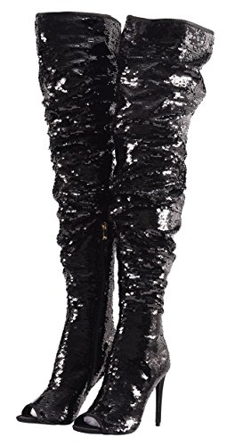 Stiletto Sparkle Fashion Party Heel Thigh Black Boots High Peep Christmas Knee Dance Over Sequins CAMSSOO Women's Toe BFxWwCRqp