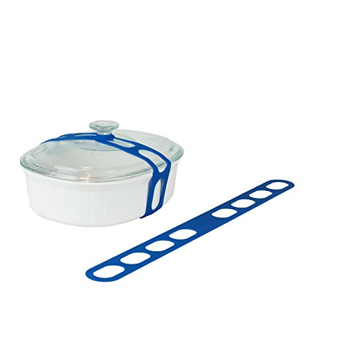 Lid Latch the reusable universal lid securing strap for crockpots, casserole dishes, pots, pans and more. Make it easy to transport your favorite dishes with one simple, flexible strap. (Blue) ()