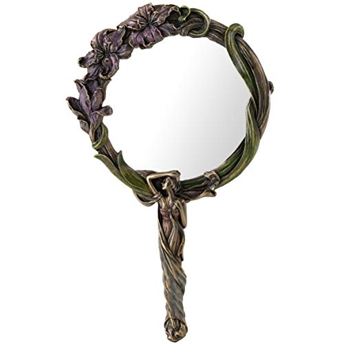 Top Collection Art Nouveau Reflecting Hand Mirror - Flower Mirror in Premium Cold Cast Bronze- 9.5-Inch Collectible New Art Deco