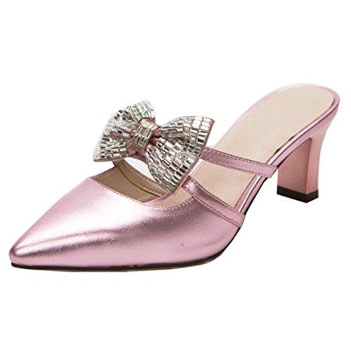 Melady su Pink Heels Scivolare Sandali Mules Donne Mode rqcpwWXrU