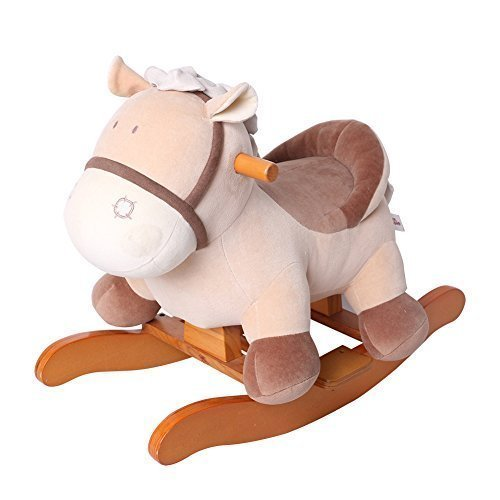 Horse Rocker Rocking (Labebe Child Rocking Horse Toy, Stuffed Animal Rocker Toy, Khaki Donkey Printed Wooden Rocking Horse for Kid 1-3 Years, Kid Rocking Horse/Rocker Animal/Toddler Rocking Horse/Plush Rocking Horse Figure)