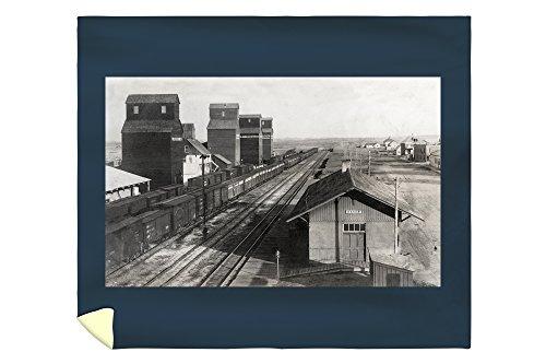 Lantern Press Baker, Montana - Aerial View of Train Depot 13486 (88x104 King Microfiber Duvet Cover) (Barrel Fiber Depot Home)