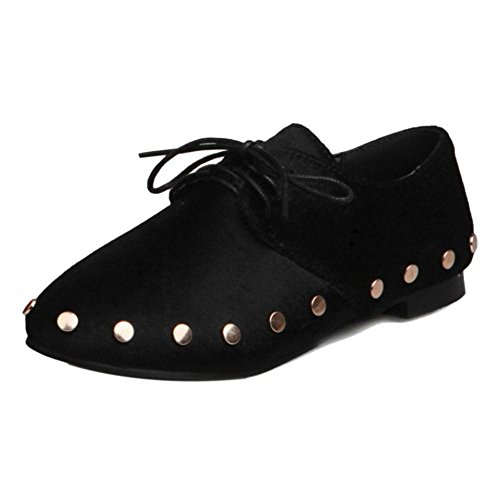 TAOFFEN Women Western Flat Lace Up Rivets Court Shoes Casual Loafers Shoes Black w1GjJhp70