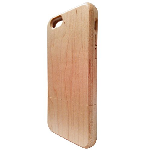 Deluxe White Maple 100% Natural Wood Wooden Shell for Case Iphone6 Wood Skin Iphone6 Wood Cover (Dock Alarm Iphone6 Clock)