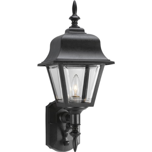 656-31 Wall Lantern with Clear, Beveled Acrylic Panels, Black (20 Inch Outdoor Wall Lantern)