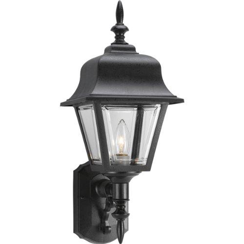 Sconce Porcelain Brass (Progress Lighting P5656-31 Wall Lantern with Clear, Beveled Acrylic Panels, Black)