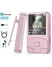 Bluetooth 4.2 8GB Mini Clip Mp3 Player tragbar, Sport Musik Player mit FM, Unterstützt 64GB Micro SD Speicherkarte, von AGPTEK A58, Schwarz