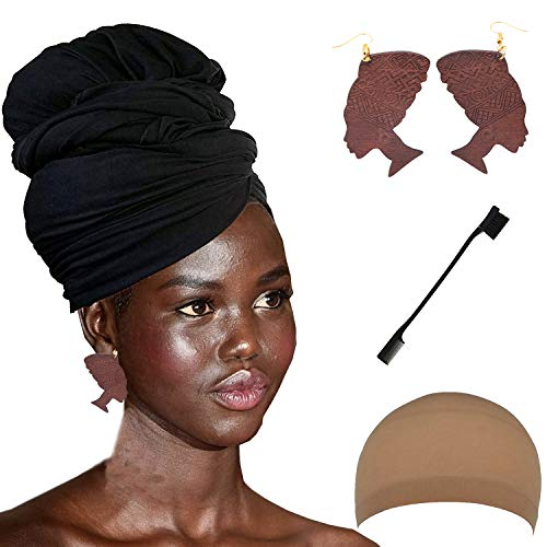 Long Stretch Head Wrap Set- Solid Color African Turban Hair Scarf Tie, Double Sided Edge Control Hair Brush Comb Combo,Wooden Colored Turban African Woman Earrings,Wig Cap (OneSize, Black)