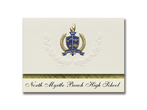 Signature Announcements North Myrtle Beach High School (Little River, SC) Graduation Announcements, Presidential Elite Pack 25 with Gold & Blue Metallic Foil seal (Graduation Invitations School High Party)