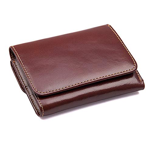 WENNEW Brusk Retro Wallet RFID Shielding Wallet Anti-scanning Leather Wallet (Color : Chocolate Color)