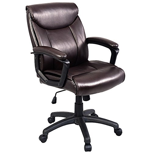 Brown Ergonomic PU Leather Mid-Back Executive Computer Desk Task Office Chair + FREE E-Book