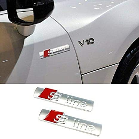 45 * 15mm 2X Set Stemma Fregio S-Line Portachiavi Pelle】 Lato Ala Badge Emblema per Audi A3 A5 A7 Q3 Q5 Nero【