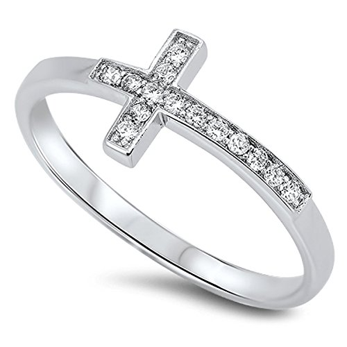 Sterling Silver Women's Flawless Colorless Cubic Zirconia Christian Sideways Cross Ring (Sizes 4-10) (Ring Size 5) (Cubic Zirconia Cross Ring)
