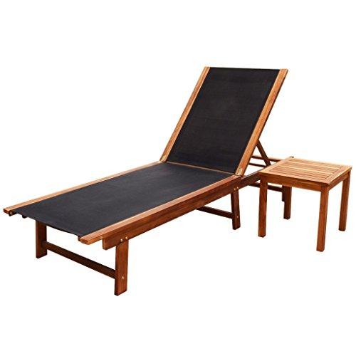 vidaXL 2 Piece Sun Lounger Table Set Recliner Acacia Wood Outdoor Garden Patio Terrace