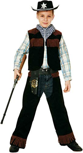 Boys Black Sheriff Law Enforcer Cowboy Wild West Gun Slinger Western Chaps TV Film Movie World Book Day Week Fancy Dress Costume Outfit (10-12 years (152cm))]()