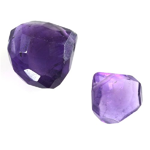 (Purple Amethyst Gemstone Quality Cut Faceted Heart Briolette Beads 8-12mm Pack of 6)